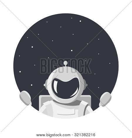 Cosmonaut In White Spacesuit  Looks At Us Through The Round Hole Of Space. Astronaut With A Helmet W