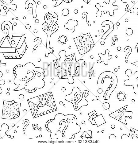 Seamless Patterns Of Black Hand-drawn Contour Question Marks On White Backdrop. Uncolored Silhouette