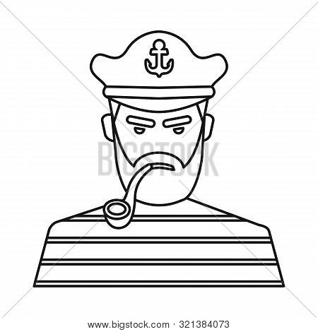 Isolated Object Of Captain And Seaman Logo. Set Of Captain And Face Stock Symbol For Web.