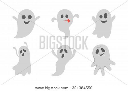 Ghost Set. Spooky Halloween Silhouette. Horror Costume