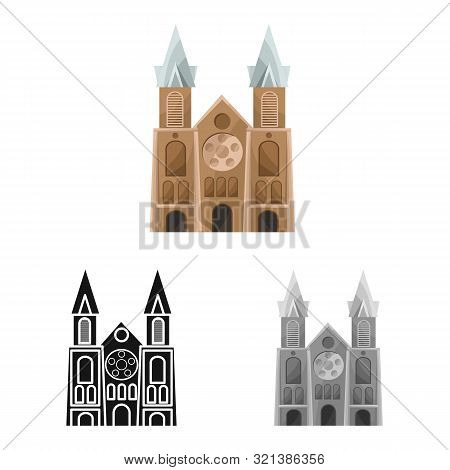 Isolated Object Of Chapel And Vietnamese Sign. Collection Of Chapel And Cathedral Stock Symbol For W