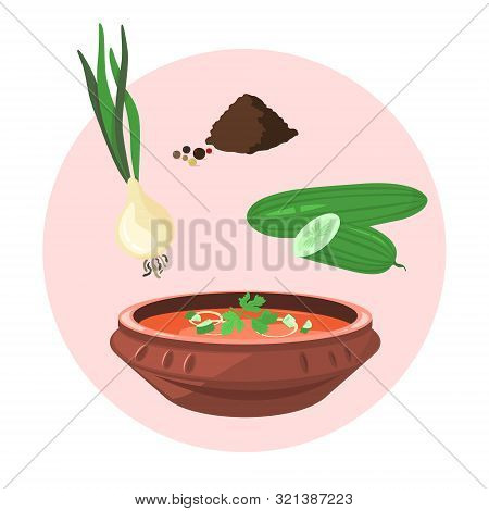 Cold Gazpacho Soup Cooking. Fast And Easy Dinner Or Lunch