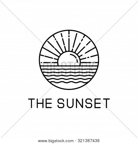 Sunset Design Line Art Isolated White Background. Sunset Vector Illustration. Sunset Design Line Art