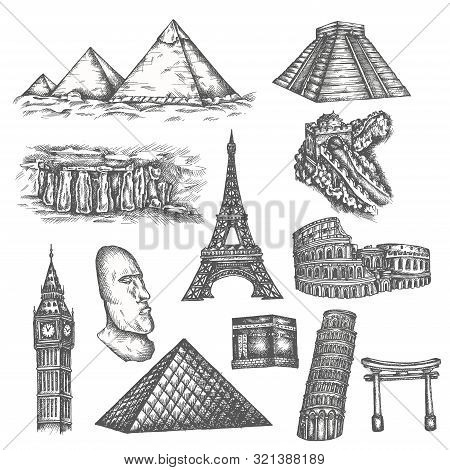 Attractions Of The World In Sketch Style. Famous Sights Of The World. Travel Set With Pyramids, Eiff