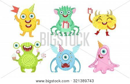 Cute Happy Monsters Set, Funny Friendly Colorful Mutant Characters, Childish Birthday Party Design E