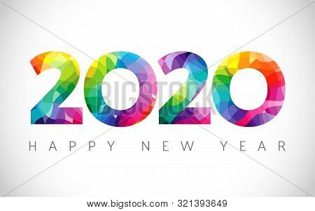 2020 A Happy New Year Congrats. Stained Glass Logotype. Abstract Isolated Graphic Design Template. X