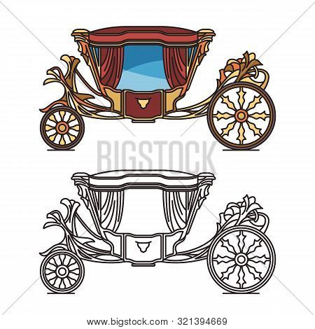 Royal horse chariot for travel or vintage carriage poster