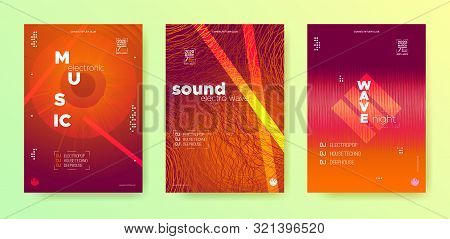 Sound Wave Poster. Electronic Beat. Vector Music Poster. Glow Dj Concept. Warm Abstract Banner. Elec