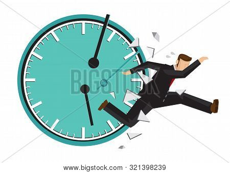 Businessman Running With A Broken Clock Behind. Concept Of Time Management Or Urgency. Flat Isolated