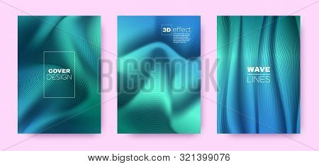 poster of Mint Flow Poster. Abstract Covers Set. Movement Vibrant Lines. 3d Geometric Background. Flow Vibrant Lines. Movement Covers Set. Blue Design Banner. Blue Flow Background.