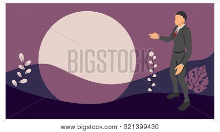Vector male character displays empty templates. provision of empty presentations. eps10 file poster