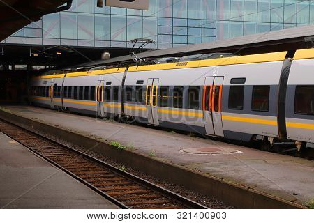 Gothenburg, Sweden - August 27, 2018: Vasttagen Train In Gothenburg Central Station. Gothenburg Is T