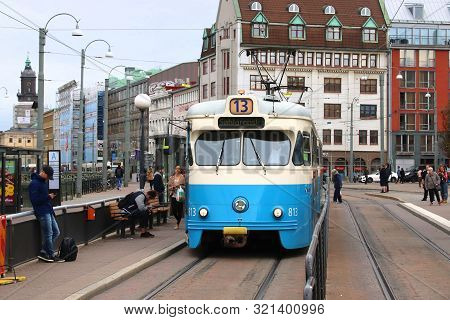 Gothenburg, Sweden - August 27, 2018: Blue Tram In Gothenburg, Sweden. Gothenburg Has Largest Tram N