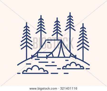 Camping Tent In Forest Outline Vector Illustration. Blue Linear Campsite Isolated On White Backgroun
