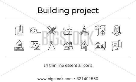 Building Project Line Icon Set. Floor Plan, Layout, Compass, Ruler. Architecture Concept. Can Be Use