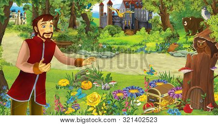 Cartoon Scene With Happy Young Prince Or King In The Forest Near Some Castles - Illustration For Chi