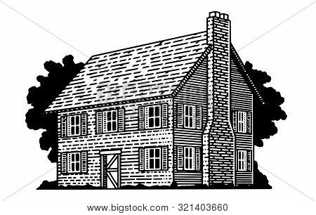 Illustration Of A Traditional American Colonial House.