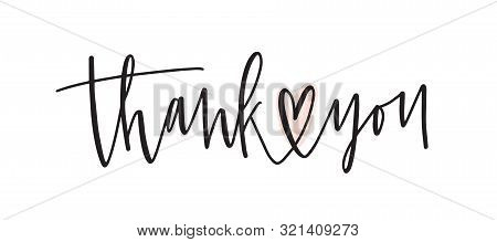 Thank You Handwritten Vector Lettering. Gratitude Expression Phrase, Thankfulness Words Isolated On