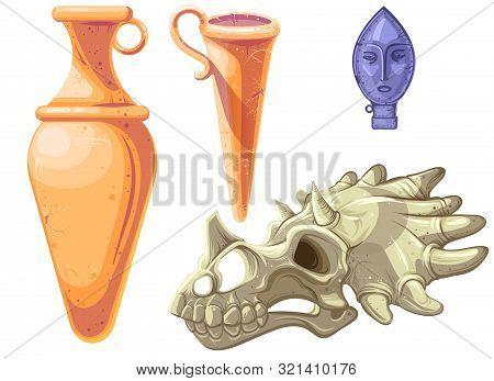 Archaeological And Paleontological Finds Cartoon Vector Illustration. Ancient Ceramic Vases Or Ampho