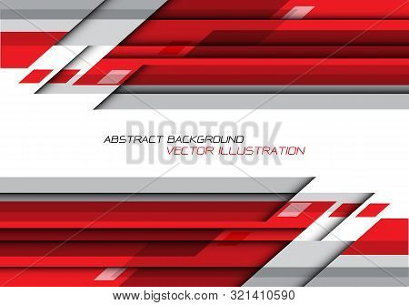Abstract Red Grey Polygon Geometric On White With Blank Space For Text Design Modern Futuristic Back