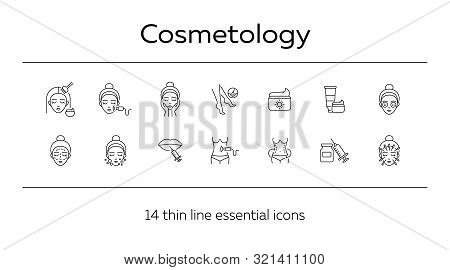 Cosmetology Line Icon Set. Body, Lips, Cream, Face, Depilation. Beauty Care Concept. Can Be Used For