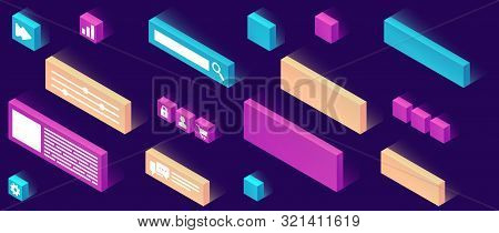 Website Constructor Isometric Icon Set Vector Illustration. 3d Pictograms Or Signs Template For Crea