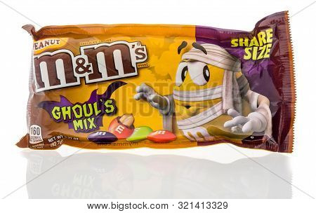 Winneconne, Wi - 10 September 2019:  A Bag Of Mms Chocolate Candy Peanut Ghouls Mix Flavor On An Iso
