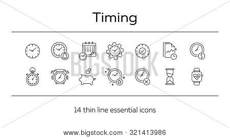 Timing Line Icon Set. Clock, Watch, Gear, Calendar. Time Concept. Can Be Used For Topics Like Time L