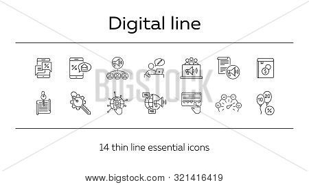 Digital Line Icons. Set Of Line Icons. Mobile With Envelope, Planet Network. Technology Concept. Vec