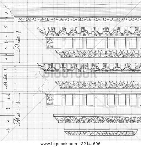 Blueprint - vintage ornaments - hand draw sketch based