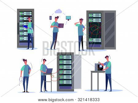 System Administrator Job Set. Hardware Professional Setting Up Desktop, Cloud Server, Holding Cords.