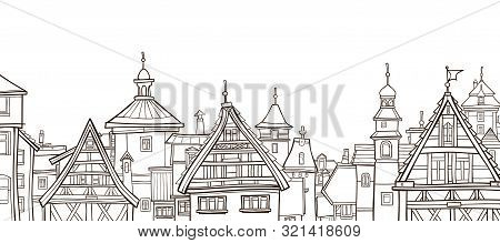 Outline Drawing Of City With Half-timbered Houses