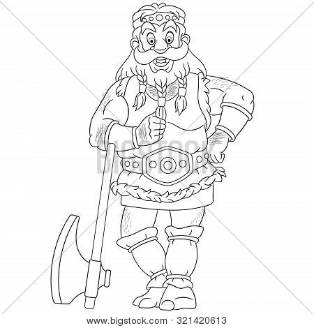 Colouring Page. Cute Cartoon Viking, Legendary Scandinavian Warrior. Childish Design For Kids Colori