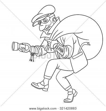 Colouring Page. Cute Cartoon Thief Running With A Bag, Criminal Housebreaker. Childish Design For Ki