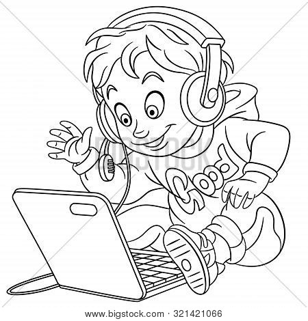 Colouring page. Cute cartoon young gamer, cyber esport professional in work. Childish design for kids coloring book about people professions. poster