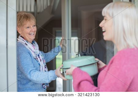Younger Woman Bringing Meal For Elderly Neighbour At Home