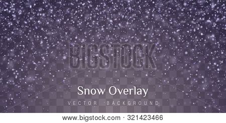 Snow And Wind On A Transparent Background. Abstract Blue Bokeh Background. Merry Christmas. Shining