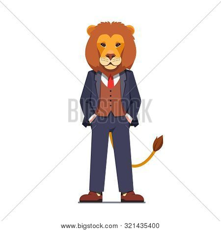 Business Man With A Lion Head Standing Confidently