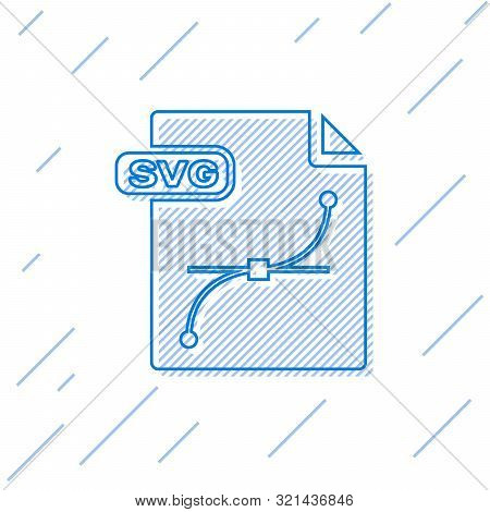 Blue Line Svg File Document. Download Svg Button Icon Isolated On White Background. Svg File Symbol.