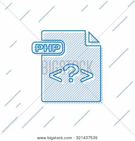 Blue Line Php File Document. Download Php Button Icon Isolated On White Background. Php File Symbol.