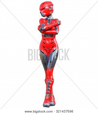 Robot Woman.red Matte Metal Droid.android Girl.artificial Intelligence.conceptual Fashion Art.3d Ren