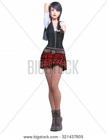 Beautiful Young Asian Woman Posing Photo Shoot. Short Red Skirt Cage, Dark Stockings, Black Boots.lo
