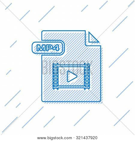 Blue Line Mp4 File Document. Download Mp4 Button Icon Isolated On White Background. Mp4 File Symbol.