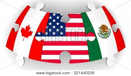 Cooperation Of Usa, Canada And Mexico. Puzzles With Flags Of United States Of America, Canada And Me