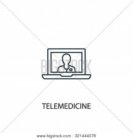 Telemedicine Concept Line Icon. Simple Element Illustration. Telemedicine Concept Outline Symbol Des
