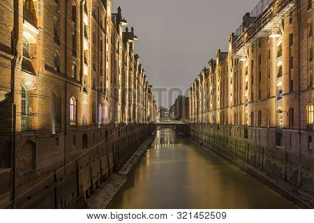 Speicherstadt, Large Warehouse District Of Hamburg At Night, Germany