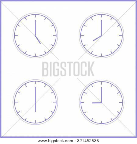 Vector Illustration. Europe And American Time. Analog Wall Clock With 3:00 Or 15:00 5:00 Am Or 5:00