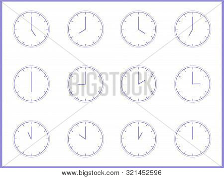 Europe And American Time. Analog Wall Clock The Gray Dial Without Numbers Shedule For Business Or Ed