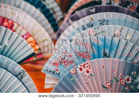 Colourful Souvenir Fans For Sale On The Street In The Muslim Quarter, Xian Town, China