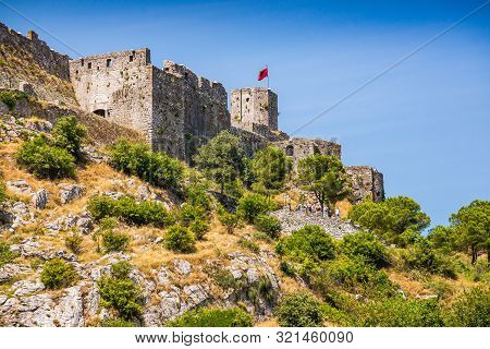 Rozafa Castle Rises Imposingly On Rocky Hill In Shkoder City, Albania